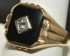 10~Art Deco Onyx & Diamond Ring Vintage Solid 10K Yellow Gold~6.33 gram~Men's sz