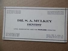 c.1920s Dr S.A. Mulkey Dentist Advertising Ink Blotter Portland Oregon Vintage