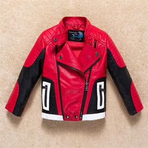 Faux Leather Boy Girl Kids Childs Biker Rocker Zip Up Jacket Coat RED 1-11yrs
