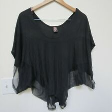 Free People Women Top Lace Shirt Boat Neck Girls Layered Tee Shirt Small Black