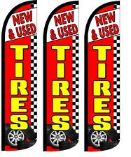 New Tires Used  King Size Windless 36 x 138 in Polyester Swooper Flag 3 Pack