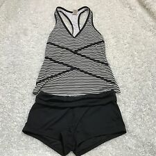 Anne Cole Collection Size XS Black White Striped Swimsuit Tankini Boy Shorts Set