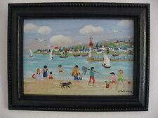 """Charlotte Julian - """"La plage"""" - Art Naïf - Acrylique - Tableau -"""