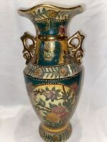 "Vintage. Satsuma Vase, Hand Painted, Gold Gilt Raised Bead 13 3/4"" Tall"