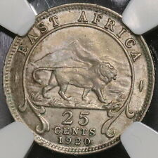 1920-H NGC AU 55 EAST AFRICA Silver 25 Cents Lion Volcano Coin (16103013C)