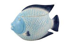 G4739: Jarra con tapa Pescado,marítimo Cerámica Sopera,Galleta Caja Pescado,