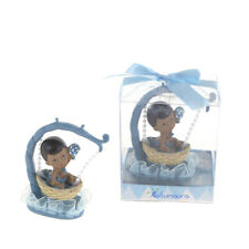 Mega Favors - Ethnic Baby Boy Sitting in Hanging Basket Poly Resin - Blue, 12Pcs
