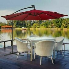 Arebos 3m Garden Umbrella with LED Lighting - Red (AR-HE-SS38LR)