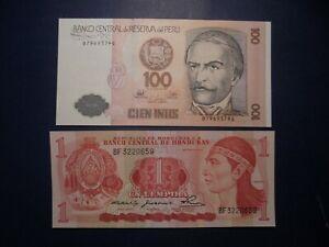 2X SOUTH AMERICAN UNC BANKNOTES HONDURAS,PERU.