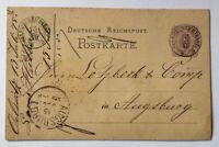Dt. Reich Ganzsache 5 Pfennig Oelsnitz nach Augsburg 1875