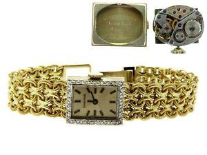 "Vintage 14K Yellow Gold & Diamond Longines Wrist Watch Short 6"" MSRP $5,600"