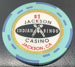 JACKSON Indian Bingo CASINO CHIP $1 JACKSON, CA POKER BLACKJACK NATIVE AMERICAN