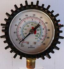 Air Pressure Gauge 220 psi 60mm Face 1/4 BSP Thread - 2 Pieces