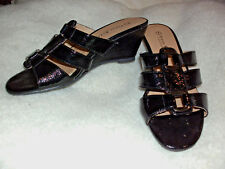Venice Beach: Size: 7. Stylish Patent BLACK, Wedge-Heel, Slide-On, Sandal Shoes