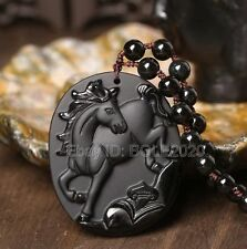 Natural Black Obsidian Hand Carved Zodiac Horse Lucky Pendant + Beads Necklace