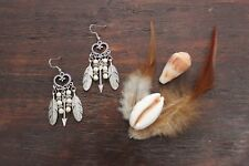 Lovely Handmade White Turquoise Bead & Silver Heart, Arrow and Feather Earrings