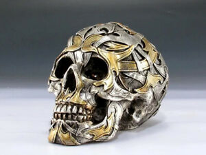 Skull with Gold & Silver Figurine Statue Skeleton Halloween