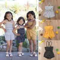 Fashion Baby Girls Striped Romper Kids Suspender Pants Toddler Jumpsuit Playsuit