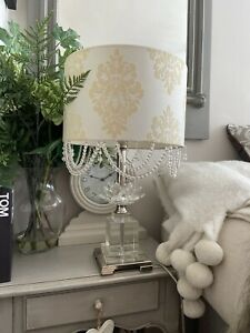 Quality Designer Crystal Glass Nickel Flower Table Lamp Gold Damask Beaded Shade