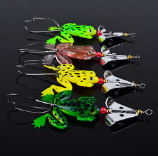US Lot 4pcs Rubber Frog Soft Fishing Lures Bass Bait Spinner Sinking 9cm 16 inch