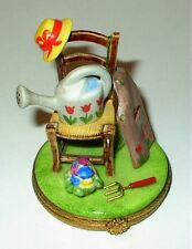 LIMOGES BOX - GARDENING CHAIR - WATERING CAN & APRON & FLOWER POT & HAT - TULIPS