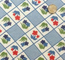 "Vintage Feed Quarter Sack Very Small Red, Aqua & Blue Flowers 21"" x 18"""