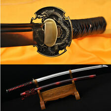 HIGH QUALITY JAPANESE SAMURAI SWORD KATANA 1095 STEEL LEATHER ITO DRAGON TSUBA