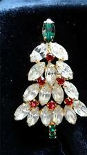 Vintage Marquise Red Clear Rhinestone Christmas Tree Brooch Pin