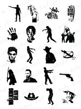 20 NAIL DECALS * WALKING DEAD Silhouette Asst * WATER SLIDE NAIL DECALS ZOMBIES