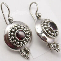 925 Solid Silver High End GARNET EXCLUSIVE STONE OXIDIZED Earrings 1.2 Inch