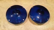 "2 Vintage KD258 7"" Lights Blue Stratolite No. 62 Jumbo Lens Police Fire Rat Rod"