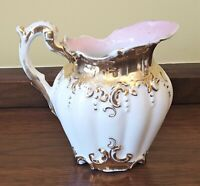 "4"" Antique Beaded Melon Shaped CREAMER PITCHER White & Gold Pink Interior Vtg"