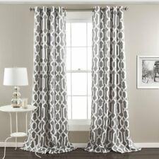 Vance Geometric Room Darkening Thermal Grommet Curtain Panels - GRAY