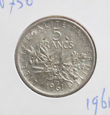 "Frankreich: 5 Francs 1961 Silver, KM# 926, SS-VF, #F 2407, ""Semeuse"""