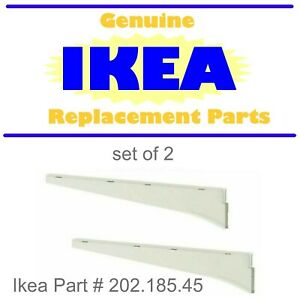 "2 X Ikea ALGOT Steel Shelf Bracket Clothes Rail 15"" White 202.185.45"