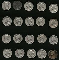 Lot of 20 US Washington Silver Quarters Coins Year: 1942 FREE Shipping