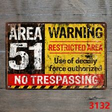 Metal Tin Sign area 51 no trespassing Decor Bar Pub Vintage Retro Cafe ART