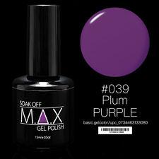 MAX 15ml Soak Off Gel Polish Nail Art UV LED Color #039 - Plum Purple
