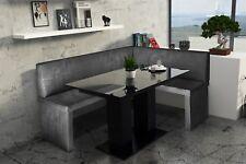 Eckbankgruppe 168x128 cm ROBIN L Vin..Schwarz/ Tisch DANTE Schwarz HGL