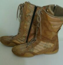 Girls suede & Leather Boots ALVIERO MARTINI  brown & Print Boots Made in Italy