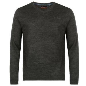 Pierre Cardin Mens V Neck Jumper Sweater Pullover S M L XL XXL Black Charcoal