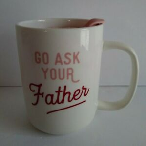 """Threshold """"Go Ask Your Father"""" Stoneware Coffee Mug Cup W/ Lidded Top Pink New"""