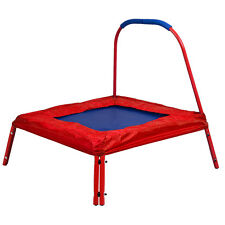 Red Square Jumping Trampoline 3' x 3' FT Kids w/ Handle Bar and Safety Pad