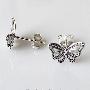 Filigrane Damen Kinder Ohrstecker 925 Silber Schmetterlinge rhodiniert 10 x 8 mm