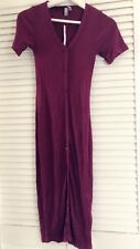 new Women ASOS Maroon Dark Red Short Sleeves Tunic Long Maxi Dress UK4