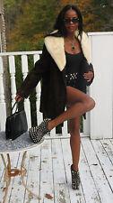 Rare Designer Vintage Schiaparelli black swakara & Mink Fur Coat Jacket S-M 0-8