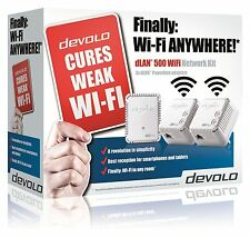 DEVOLO 9092 POWERLINE DLAN 500 WIFI NETWORK KIT COMPLETE WITH 3 ADAPTERS/PLUGS