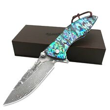Albatross 7.28'' Damascus Steel Abalone Seashells Folding Pocket Knife(Hgdk021B)