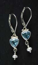 Sajen Swiss Blue Topaz Pearl Drop/Dangle Sterling Silver .925 Wire Earrings