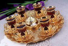 (SET OF 6) Handmade Copper Turkish Tea Water Zamzam Serving Set Glasses Saucer